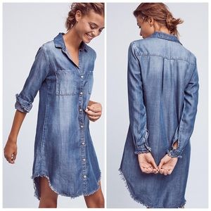 Anthro Fringed Chambray Dress by Cloth & Stone